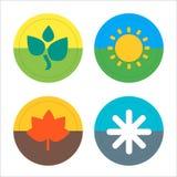 Ensemble mince plat d'icône de quatre saisons Vecteur Image stock