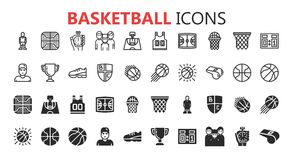 Ensemble moderne simple d'icônes de basket-ball illustration stock