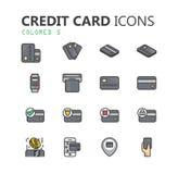 Ensemble moderne simple d'icônes de carte de crédit Photos libres de droits