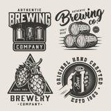 Ensemble monochrome de logos de bière de cru illustration libre de droits