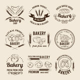 Ensemble monochrome de vecteur de logos ou de labels de boutique de boulangerie illustration libre de droits