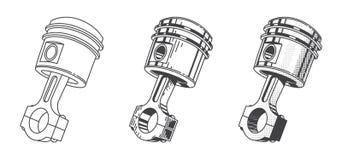 Ensemble métallique de pièce de moteur de voiture de piston de vitesse Photo stock