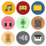 Ensemble musical simple de graphique d'illustration de vecteur d'icônes de symbole Photographie stock libre de droits