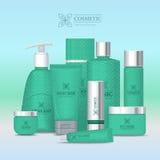 Ensemble naturel de cosmétique de série Vecteur Images stock
