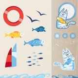 Ensemble nautique d'icône Image stock