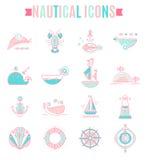 Ensemble nautique d'icône, conception plate minimalistic avec les courses minces Image libre de droits