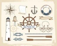 Ensemble nautique de décoration de vintage illustration libre de droits