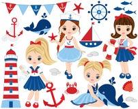 Ensemble nautique de vecteur avec de petites filles, baleines et crabes mignons illustration libre de droits
