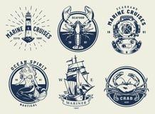 Ensemble nautique monochrome d'emblèmes de cru illustration de vecteur