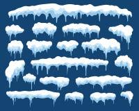 Ensemble neigeux de glaçon d'hiver illustration stock