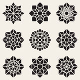 Ensemble neuf du vecteur noir Mandala Ornaments Illustration décorative Image libre de droits