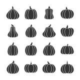 Ensemble noir d'icône de silhouette de potiron illustration stock