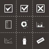 Ensemble noir d'icône d'élection de vecteur Photos libres de droits