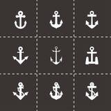 Ensemble noir d'icône d'ancre de vecteur Photographie stock