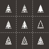 Ensemble noir d'icône d'arbre de Noël de vecteur Photographie stock