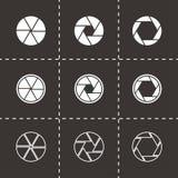 Ensemble noir d'icône d'obturateur de caméra de vecteur Photographie stock