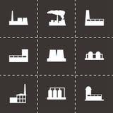 Ensemble noir d'icône d'usine de vecteur Image libre de droits