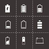 Ensemble noir d'icône de batterie de vecteur Image stock