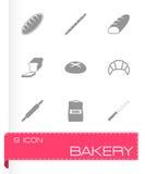 Ensemble noir d'icône de boulangerie de vecteur Photographie stock