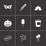 Ensemble noir d'icône de carnaval de vecteur Image stock