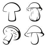 Ensemble noir d'icône de champignons Photo libre de droits