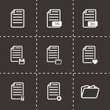 Ensemble noir d'icône de documents de vecteur Photographie stock libre de droits