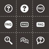 Ensemble noir d'icône de FAQ de vecteur Image libre de droits