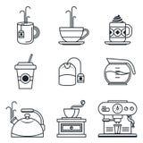 Ensemble noir d'icône de lineart Café, thé, tasse, dispositifs Image stock