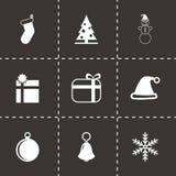 Ensemble noir d'icône de Noël de vecteur Images stock