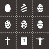 Ensemble noir d'icône de Pâques de vecteur Images stock