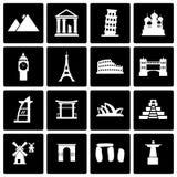 Ensemble noir d'icône de points de repère de vecteur Photographie stock libre de droits