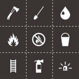 Ensemble noir d'icône de sapeur-pompier de vecteur Photo libre de droits