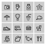 Ensemble noir d'icône de voyage de vacances de vecteur Image stock