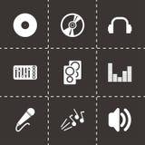 Ensemble noir d'icône du DJ de vecteur Images stock