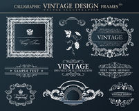 Ensemble noir d'ornement de cadres de vintage Décor d'élément de vecteur Photographie stock