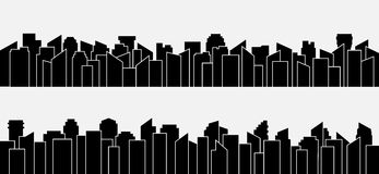Ensemble noir de panorama de silhouette de ville Conception de vecteur Photos libres de droits