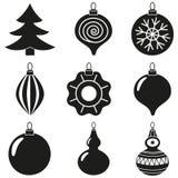 Ensemble noir de silhouette de décoration d'arbre de Noël de blanc Photographie stock