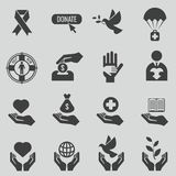 Ensemble noir de vecteur d'icônes de charité et de donation Photo stock