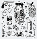 Ensemble noir et blanc énervé d'instantané de tatouage illustration libre de droits
