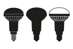 Ensemble noir et blanc d'ampoule d'halogène illustration libre de droits
