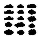 Ensemble noir et blanc d'icône de nuages Opacifie des formes d'icône Opacifie l'icône Photographie stock