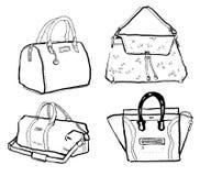 Ensemble noir et blanc d'illustration d'encre de sacs femelles illustration de vecteur