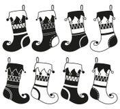 Ensemble noir et blanc de silhouette de bas de Noël 8 Photo libre de droits