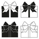 Ensemble noir et blanc de silhouette de boîte-cadeau Photographie stock