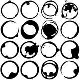 Ensemble noir et blanc de vecteur de taches de café Photos libres de droits