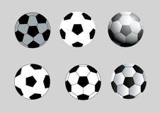 Ensemble noir et blanc de vecteur du football de cercle Photos stock