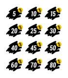 Ensemble noir et jaune spécial des prix de signe d'autocollant de vente au détail de symbole de remise d'étiquette de vente d'off Image stock