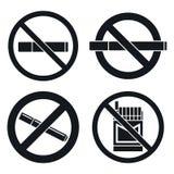 Ensemble non-fumeurs d'icône de bar, style simple illustration libre de droits