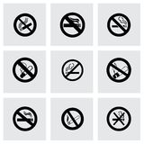 Ensemble non-fumeurs d'icône de vecteur Image stock