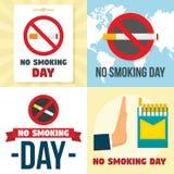 Ensemble non-fumeurs de bannière de jour, style plat illustration stock